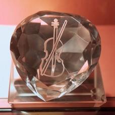 心型樂器圖案水晶擺設