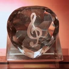 心型音樂符號圖案水晶擺設